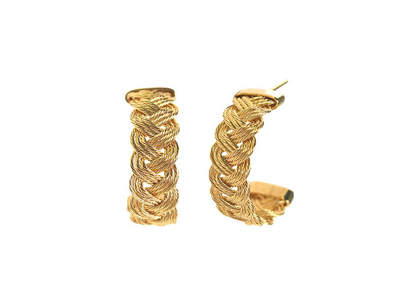 14k Yellow Gold Braid Earrings - B2-001