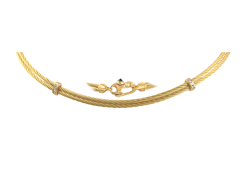 Double 14K yellow gold cable necklace with Mariner clasp and diamond accents C5-058