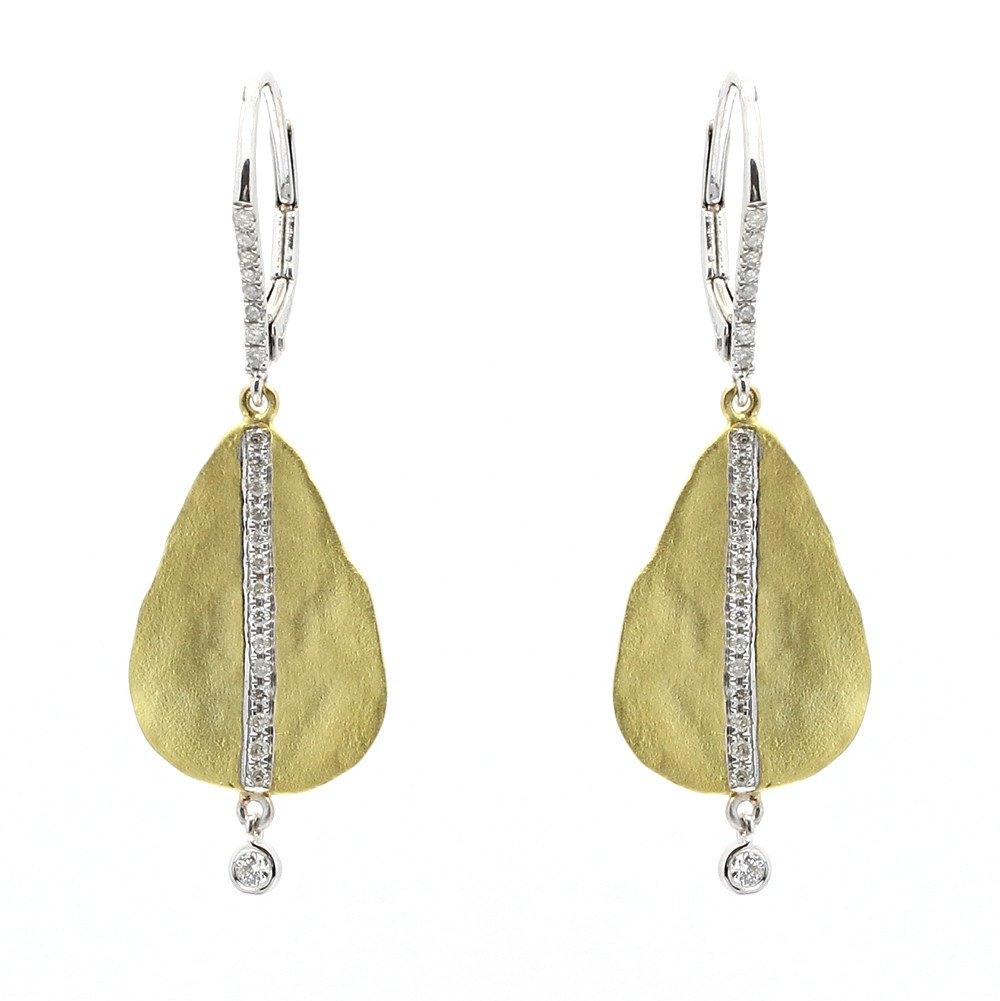Meira T Tear Drop Yellow Gold Hammered Earrings with Bezel