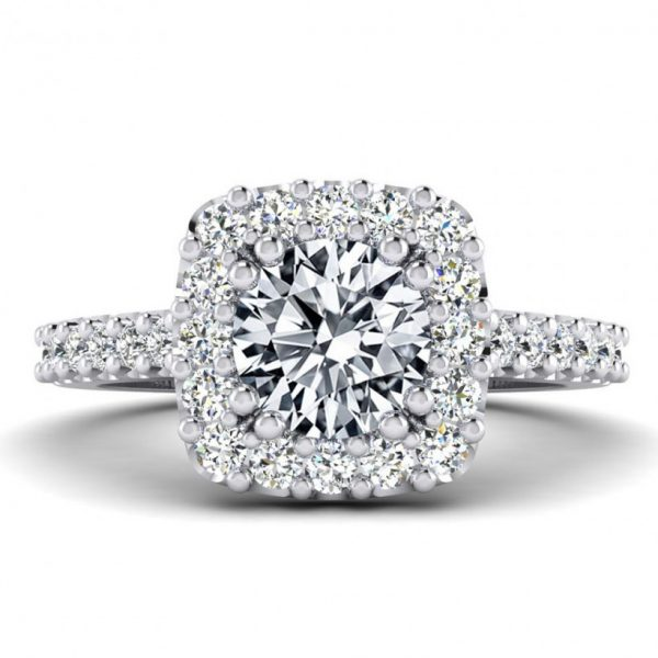 1ct Center Halo Style with Accent Stones - 8766
