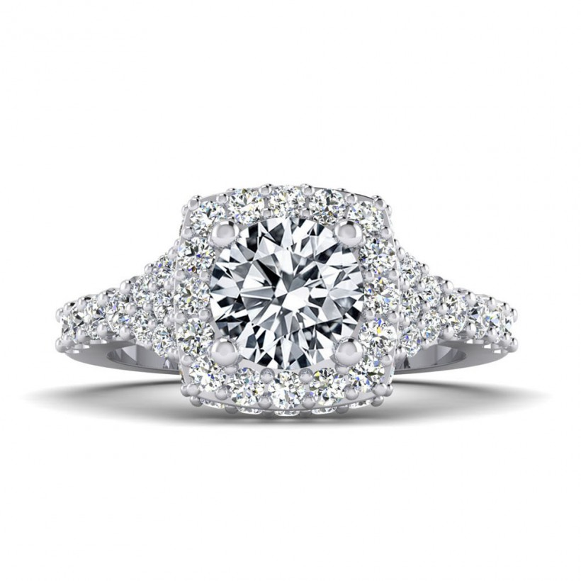 1ct Center Halo Style with Accent Stones - 8988