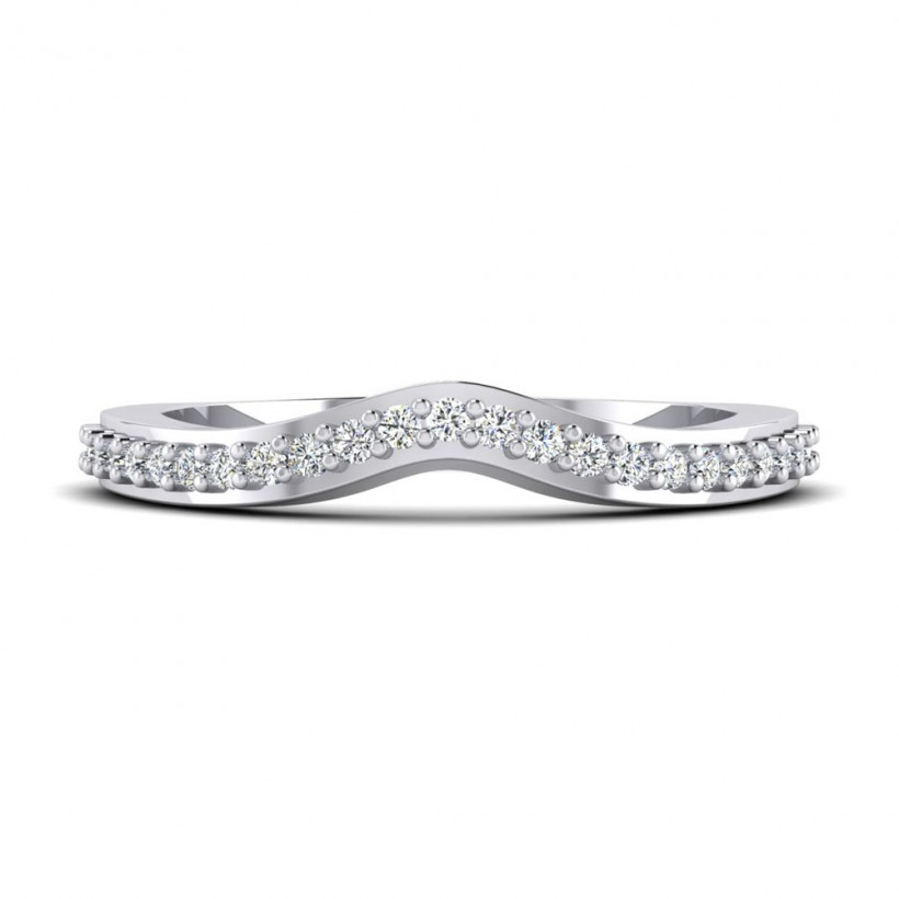 Shared Prong, Curved Wedding Band - 9185