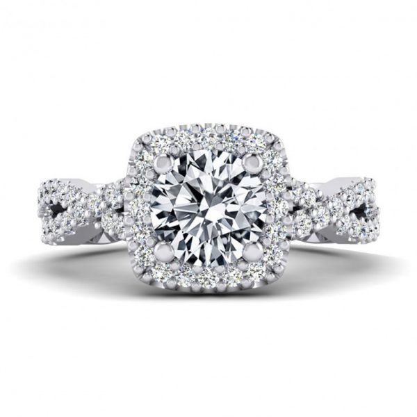 1ct Center Halo Style with Accent Stones - 9224