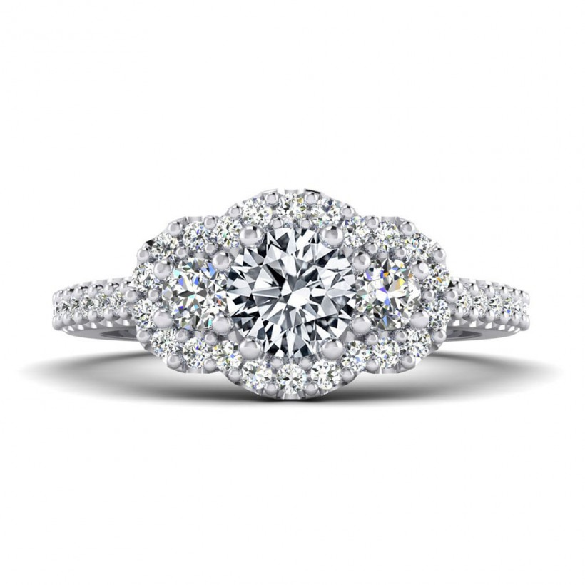 .50ct Center Halo Style with Accent Stones - 9226