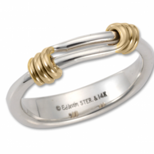 Ed Levin Signature Ring Silver and Gold