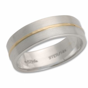 Ed Levin Wide Band Silver and Gold Ring