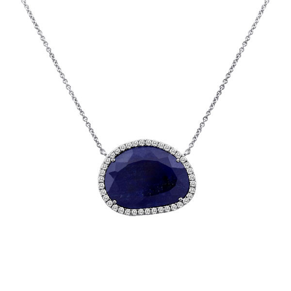 Meira T Rough Cut Blue Sapphire-and Diamond Slice Necklace