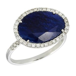 Meira T White Gold Blue Sapphire and Diamond Ring