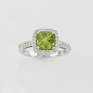 Peridot and Diamond Birthstone Ring