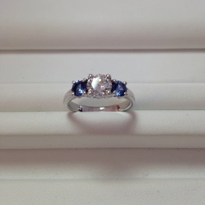 Classic 3 stone Diamond and Sapphire Ring