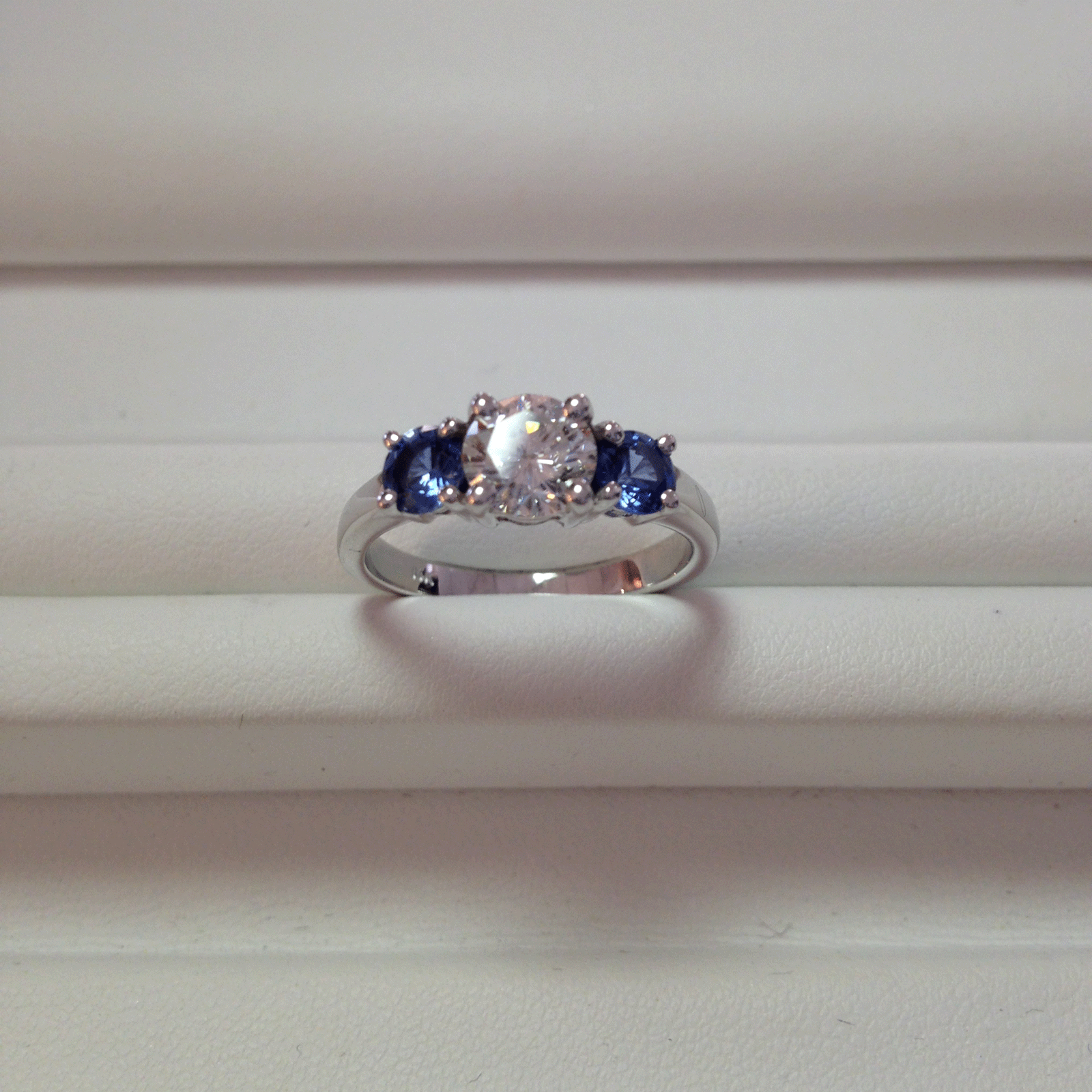 baguettes ring baquettes engagement cz bling rh blue jewelry zirconia silver cubic sapphire cut gray color princess