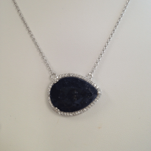 Meira t Sapphire necklace with Diamond surround