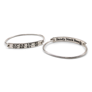 Sandy Neck Beach Landmark Coordinates Bangle Bracelet
