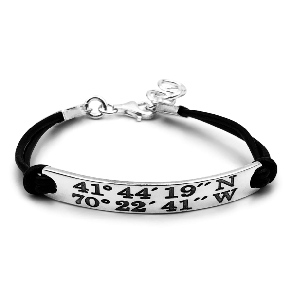 Sandy Neck Beach Landmark Coordinates Black Cord Bracelet