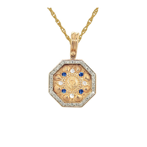The Touch Medium Sailors Valentine Diamond and Sapphire Pendant